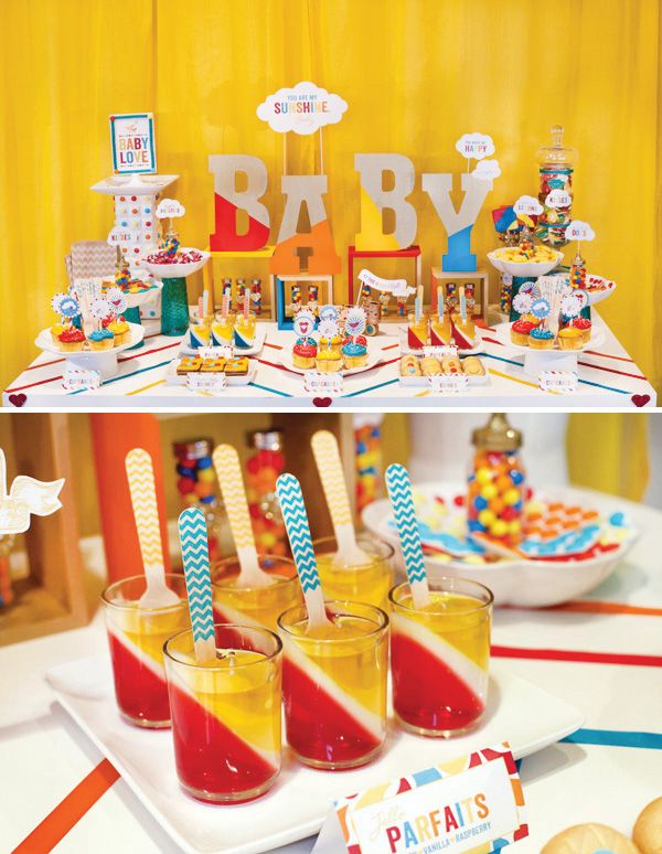 Retro Rainbow Baby Shower {Part 2   Dessert Table