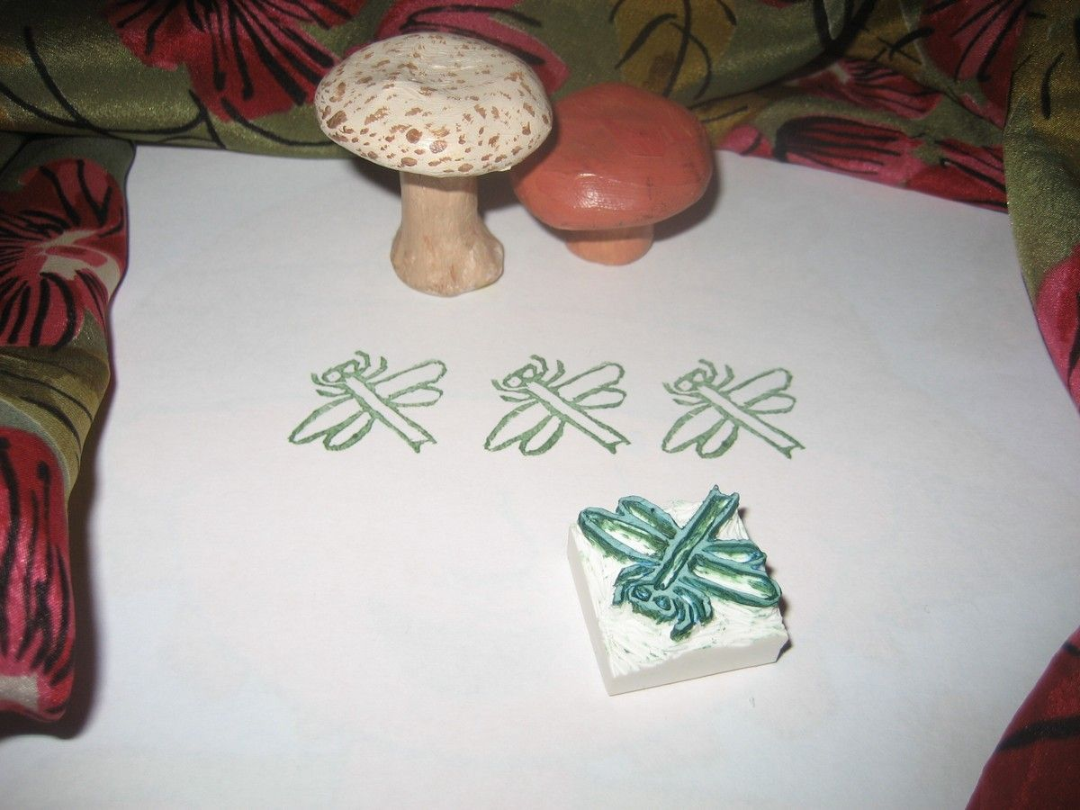 Hand-Carved DRAGONFLY Stamp