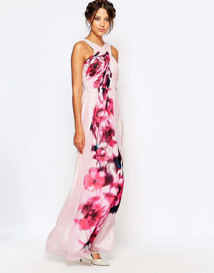 Little Mistress Tall Cross Front Maxi Dress With Floral Placement Print And Belt Detail At Asos Com Dresses Maxi Dress Little Mistress [ 1110 x 870 Pixel ]