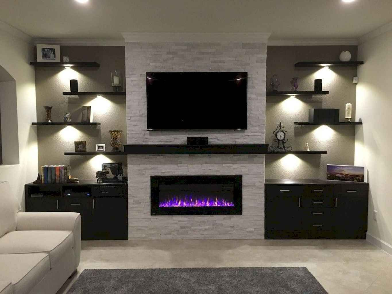 50 Diy Floating Shelves For Living Room Decorating Gladecor Com Living Room With Fireplace Trendy Living Rooms Living Room Tv Wall
