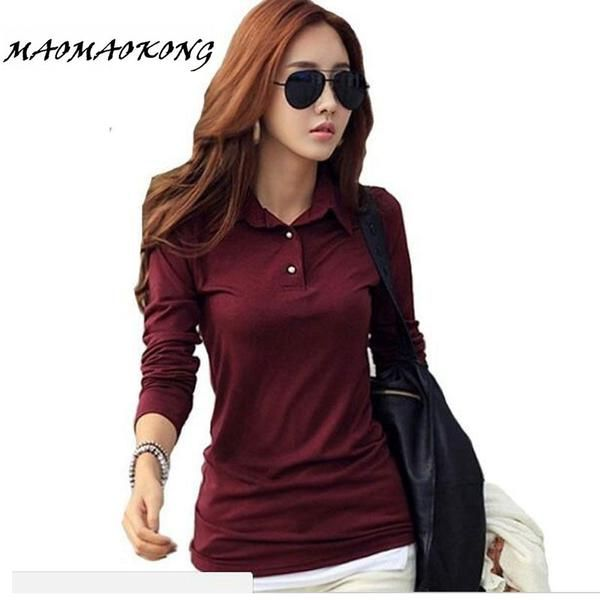 HASKARA Spring Autumn Casual Polo Women 2017 New Long Sleeve Slim Polos Mujer Black White Red Tops Plus Size Lady Polo Shirt Femme