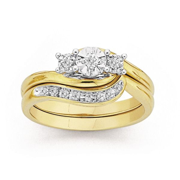 9ct gold diamond trilogy bridal ring set prouds the for 9ct gold wedding ring sets