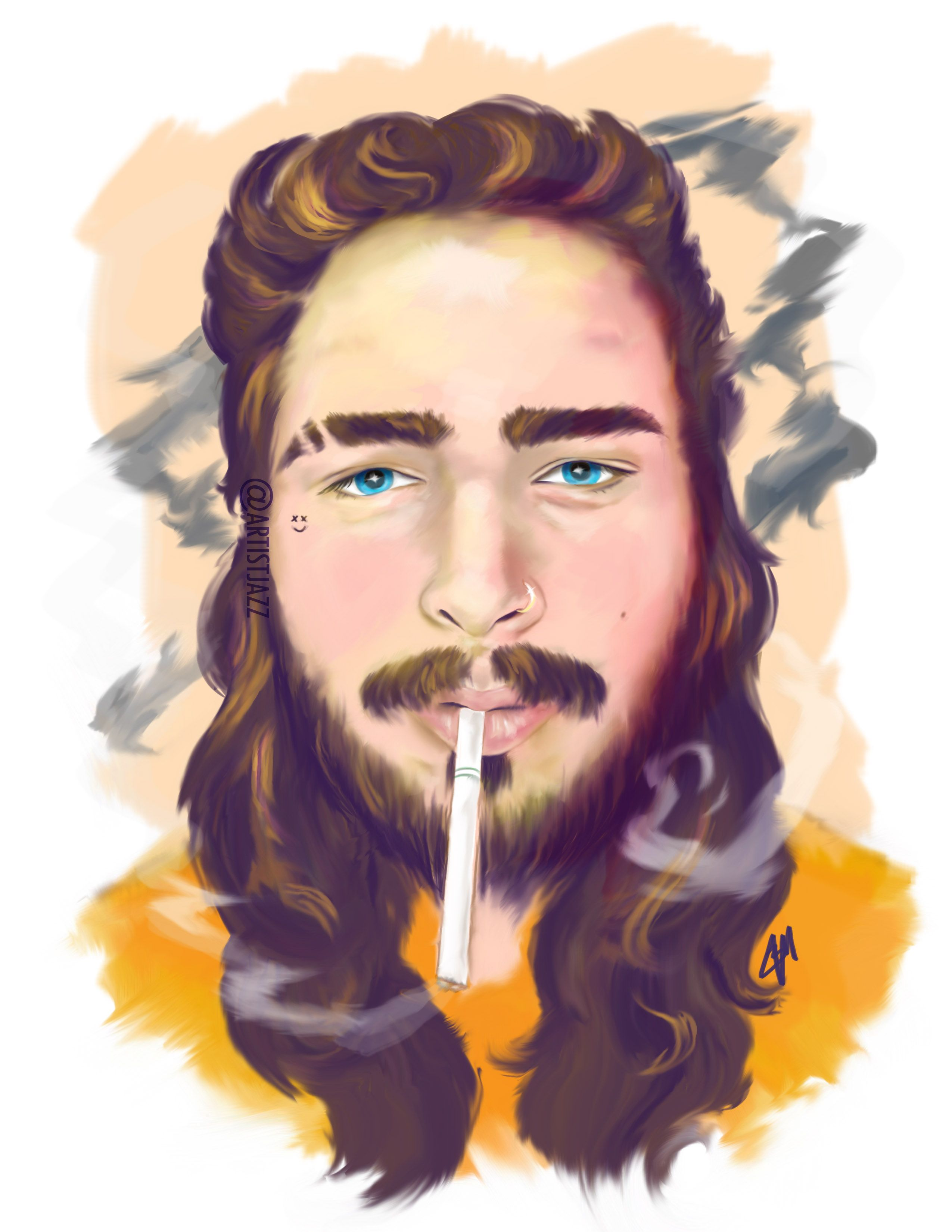 Post malone Illustration by Me! before he got his new ink. Follow ...