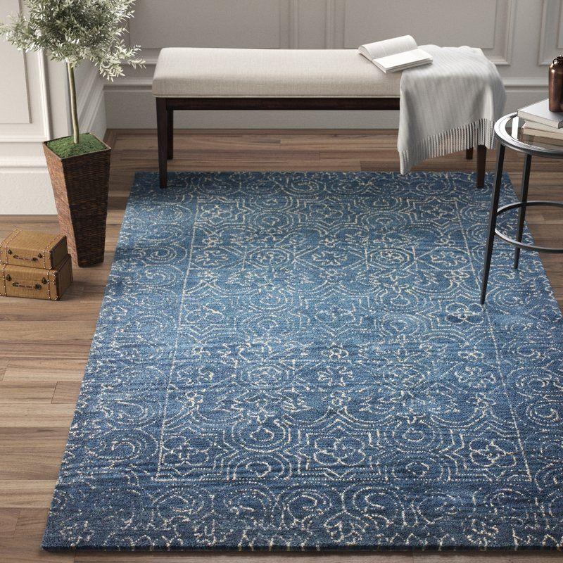 Omar Deep Blue Tufted Wool Area Rug Area Rugs Blue Area Rugs Wool Area Rugs