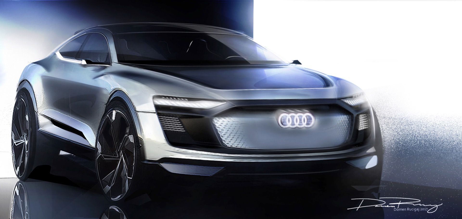 Audi s shanghai bound concept finally has a name e tron sportback concept new teasers come to reveal more of the crossover coupe shape