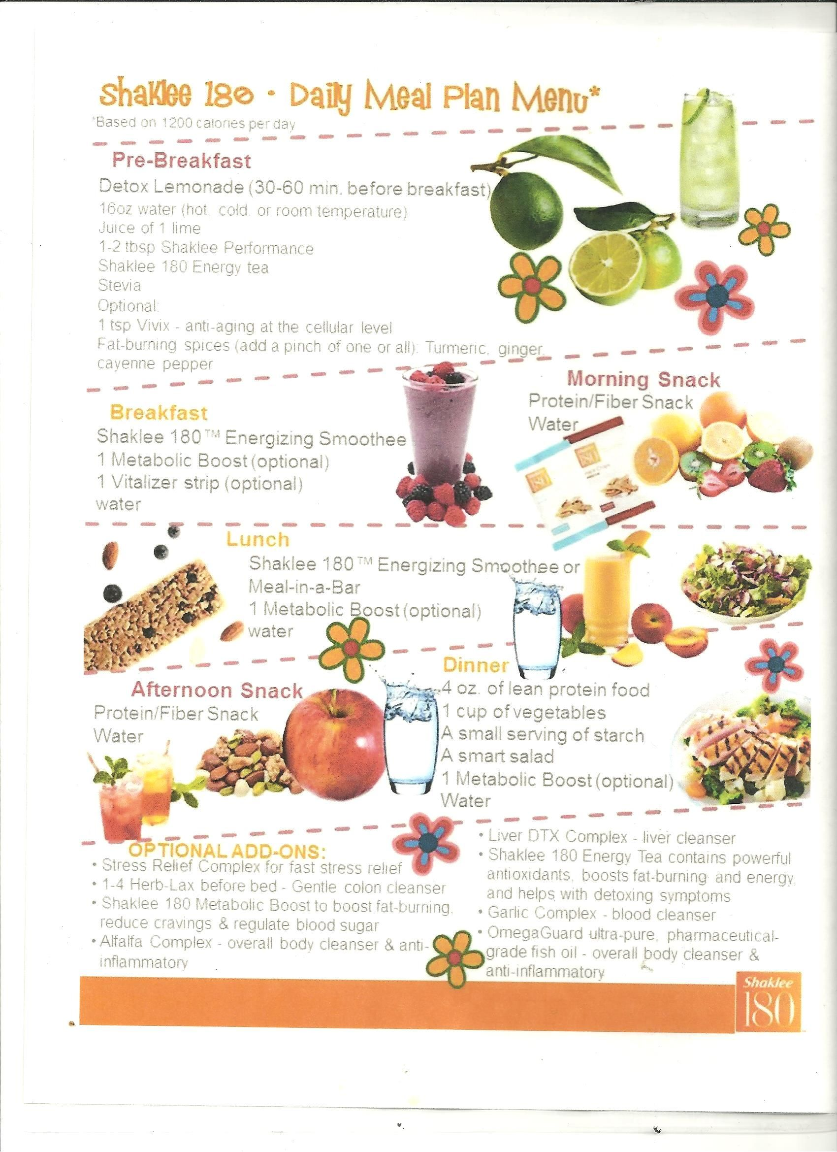 21 Day Fix Meal Plan 500 Calorie: Shaklee 180~ Daily Meal Plan Menu Duboiswellness.myshaklee