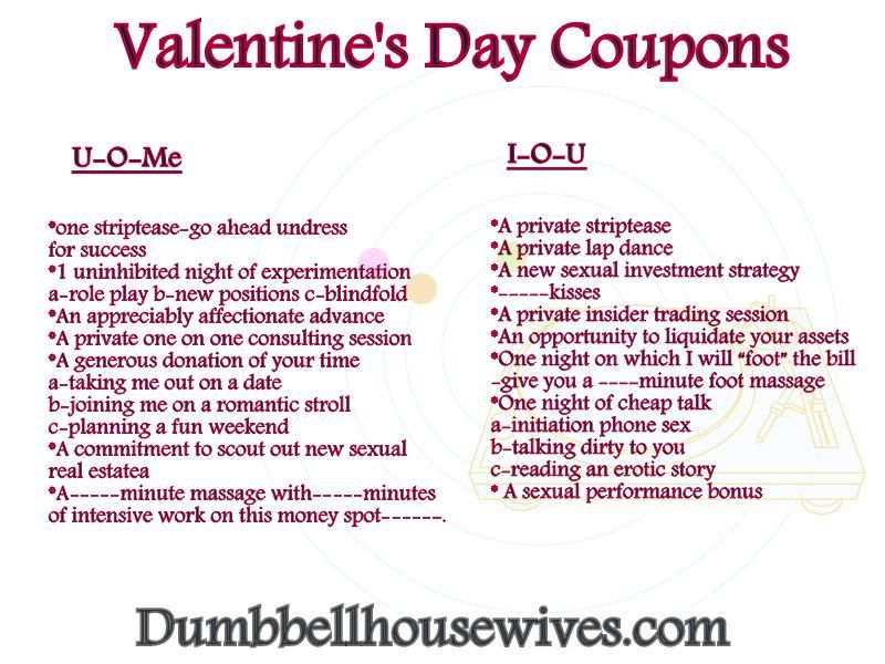 Valentines Day Coupons  DumbbellhousewifeCom