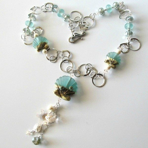 Handmade Beaded Jewelry And Lampwork Jewelry Designs - Pacificjewelrydesigns.com - Seashell lampwork sterling silver necklace