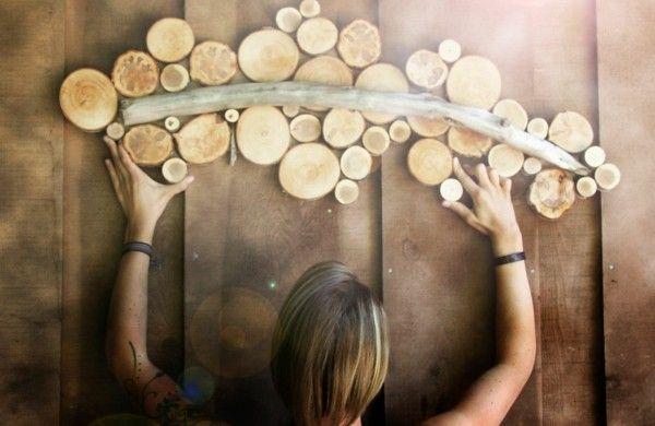 Wanddekoration selber machen - puristische Skulpturen aus Naturholz