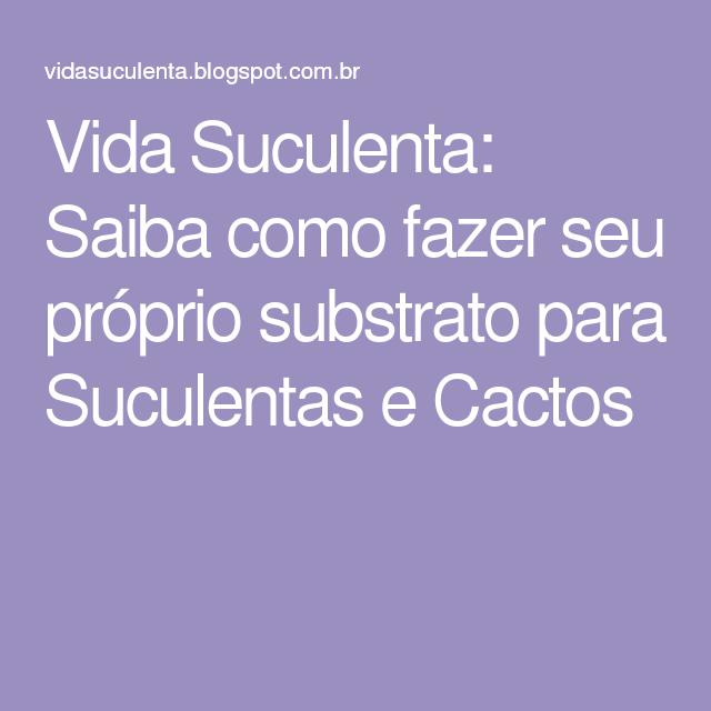Vida Suculenta: Saiba como fazer seu próprio substrato para Suculentas e Cactos