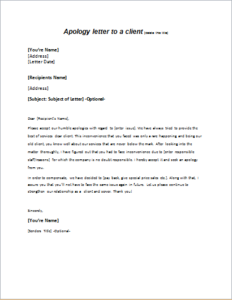 Apology letter to a client DOWNLOAD at httpwriteletter2com