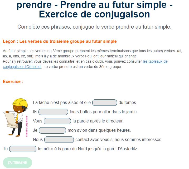 Exercice de conjugaison : Prendre au futur simple. en 2020 ...