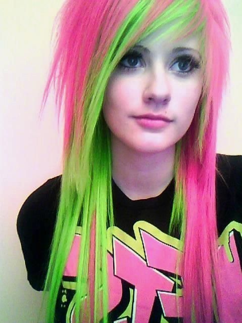 Electric Green And Neon Pink Hair Creative Hair Color Hair Styles Scene Hair