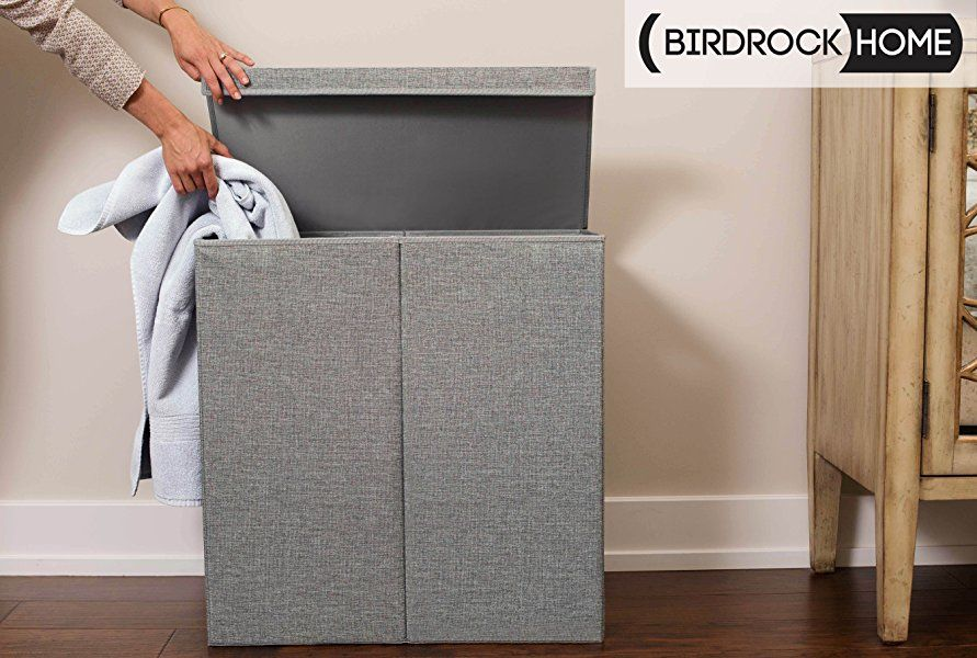 Amazon Com Birdrock Home Double Laundry Hamper With Lid And