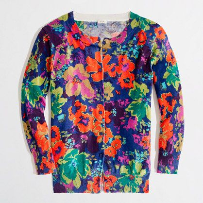Factory classic crewneck cardigan in floral // would be cute with ...