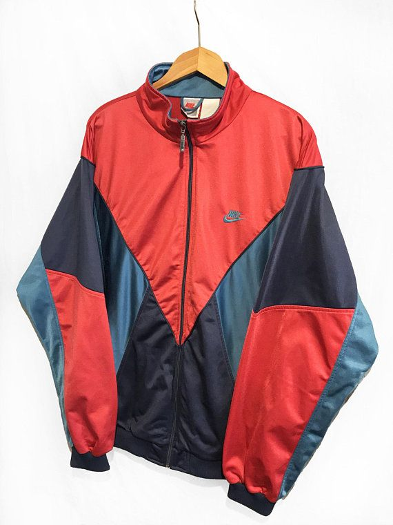 Vintage Nike Swoosh Gray Tag Windbreaker Tracksuit Top jacket Multicolor  Blue Red Size L 47d6c8756