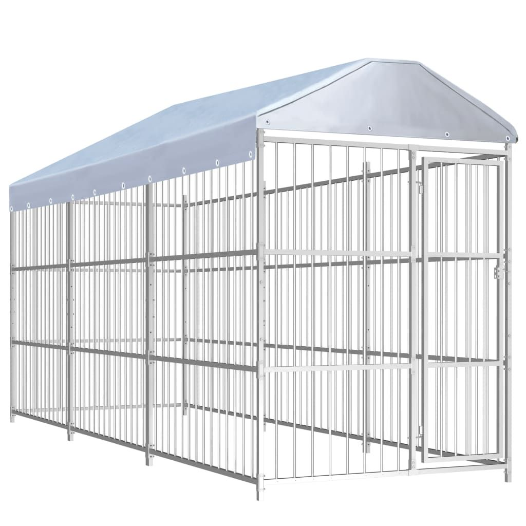 vidaXL outdoor dog kennel with roofing 450 × 150 × 200 cm