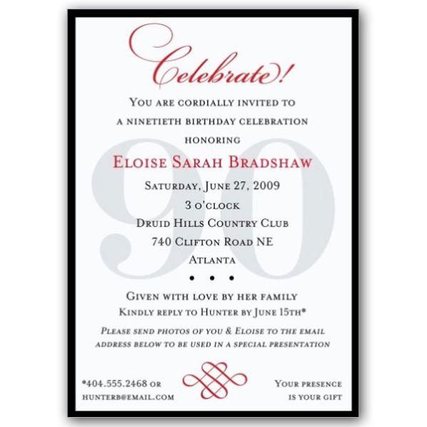 Classic 90th Birthday Invitations great invitation also – 90th Birthday Invitation Wording Samples