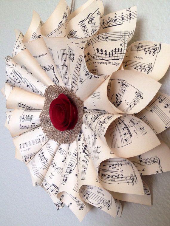 Christmas Wreath Holiday Wreath Gift Under 25 Vintage Holiday Decor Music Sheet Wreath Music Teacher Gift Christmas Gift