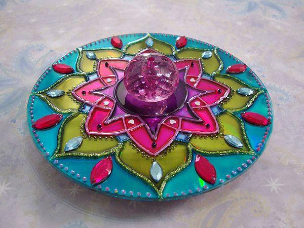 Mandalas decorativas con cds viejos art love - Manualidades con cd viejos ...