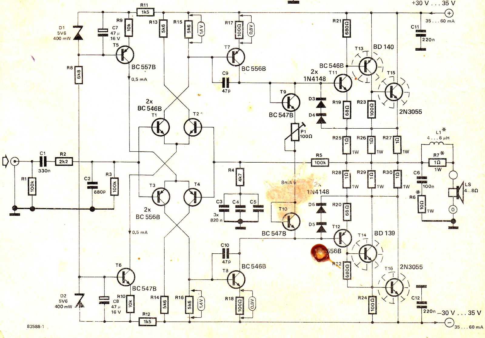 5000 watt amplifier circuit diagram siemens hand off auto switch wiring a very easy and compact 100 transistor has been explained here which uses 2n3055 transistors as the main component