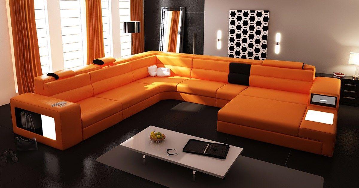 Polaris Orange Italian Leather Sectional Sofa