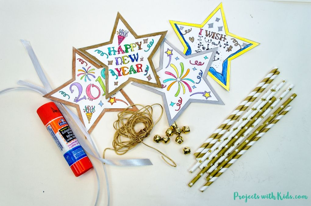 New Year's Eve Wand Craft with Free Printable New year's