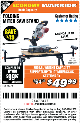 Warrior Universal Folding Miter Saw Stand For Saws Up To 10 In For 49 99 In 2020 Saw Stand Mitre Saw Stand Harbor Freight Tools