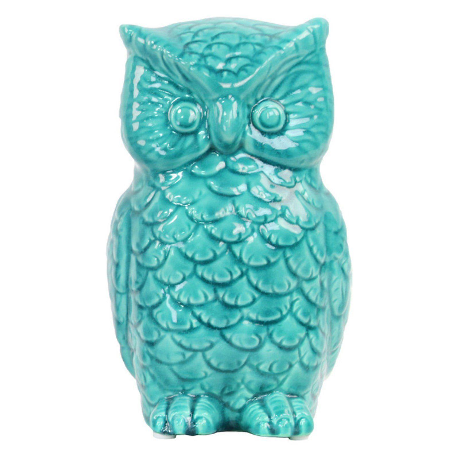 Urban Trends Ceramic Owl Figurine Turquoise Ceramic Owl Agate Decor Urban Trends Collection