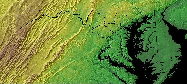 Topographic Map Of Maryland Topographic Map - Topographical map eastern us