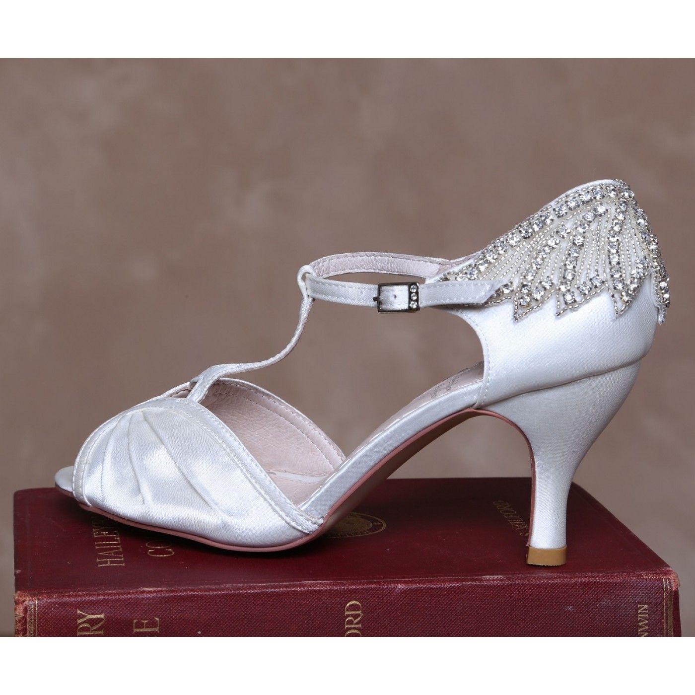 Wedding venue decorations ideas november 2018 Perfect Bridal Jessie Ivory Satin Vintage TBar Wedding Shoes