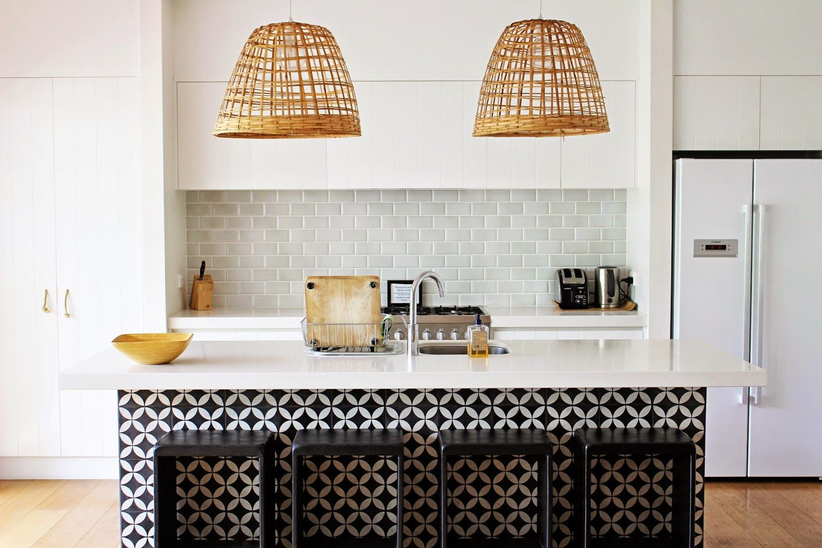 Granada Tiles Cannes Cement Tiles Cover The Kitchen Island