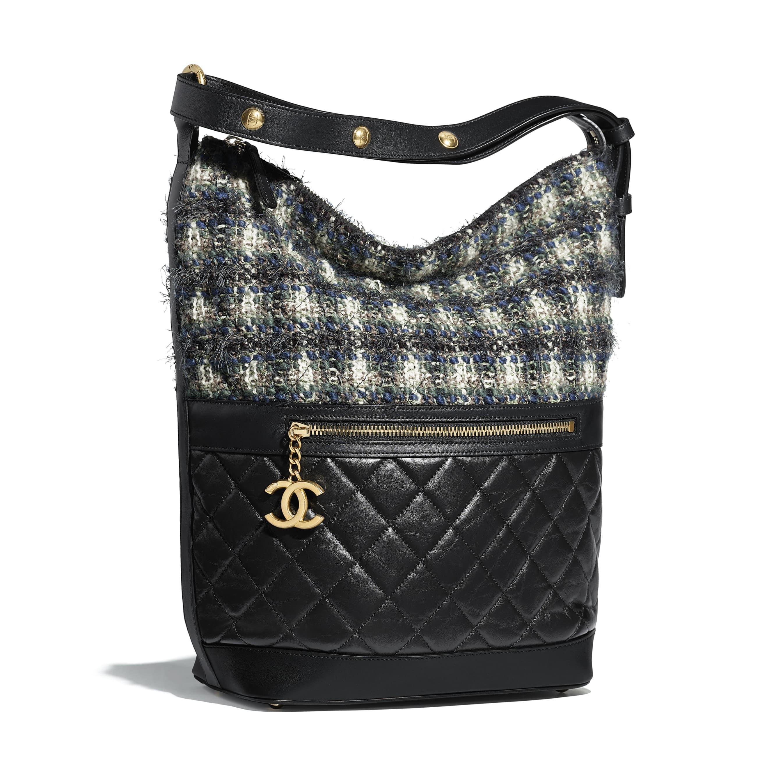 483ff6f1d79c Hobo Handbag - Black, blue, green & ecru - Aged Calfskin, Tweed & Gold-Tone  Metal - Default view - see standard sized version