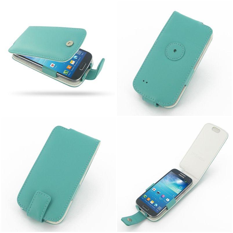 PDair Leather Case for Samsung Galaxy S4 Mini GT-i9190 - Flip Type (Aqua)