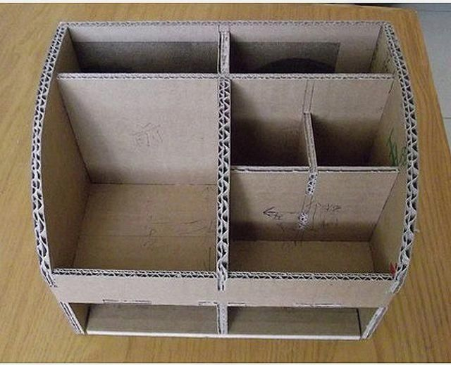 How to DIY Cardboard Desktop Organizer with Drawers #ideas #Makeup