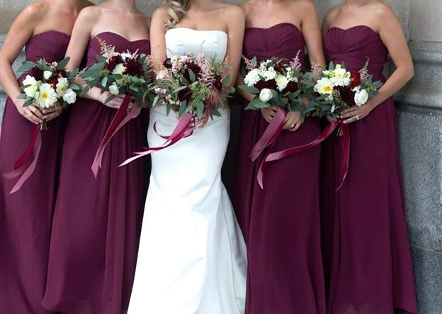 2459b20a2b43 Pictures of bridesmaids in David's Bridal Wine or Apple color dresses  - Weddingbee
