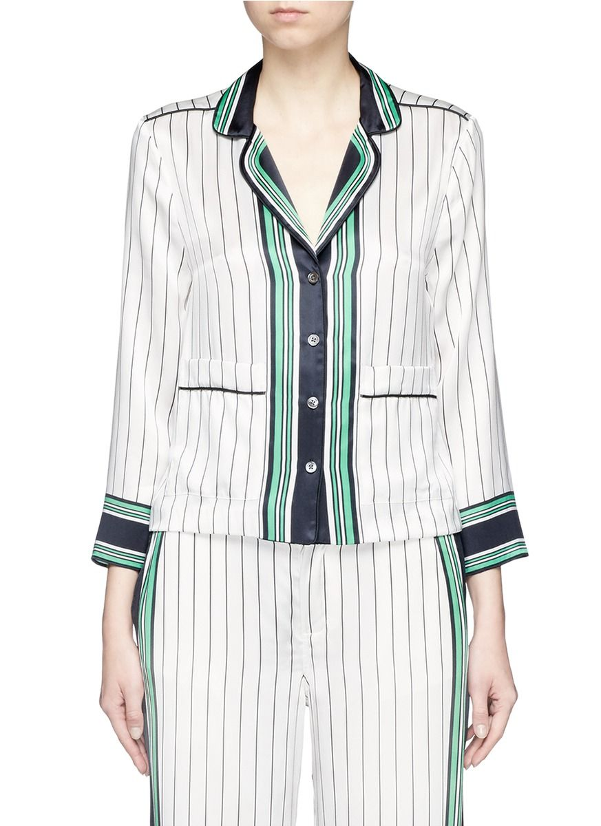Kate Moss Equipment Woman Striped Silk Top White Size XS Kate Moss for Equipment Cheap Wholesale Price For Sale Free Shipping 6XnTja4mz