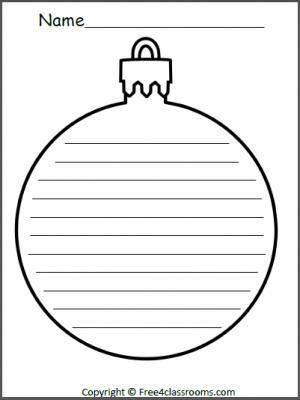 Free Christmas Ornament Writing Template Writing Worksheets, Writing  Lessons, Teaching Writing, Free Worksheets - Free Christmas Ornament Writing Template Language Arts Christmas