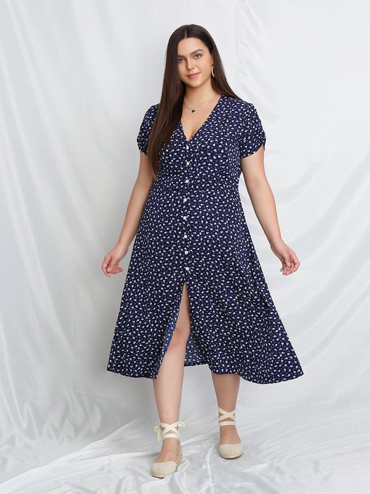 Ditsy Button Up Split Dress