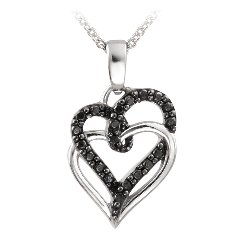 58125d0aaab63 DB Designs Sterling Silver Black Diamond Accent Double Heart ...