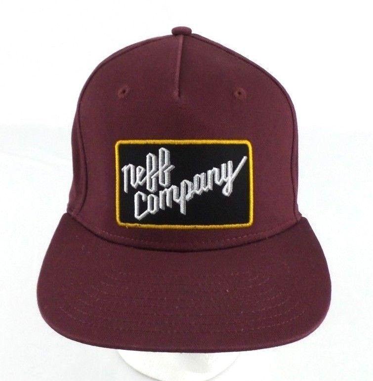 8e408db9a44 Neff Company Cap Hat Men s Snapback OSFM Burgandy  Neff  Trucker ...