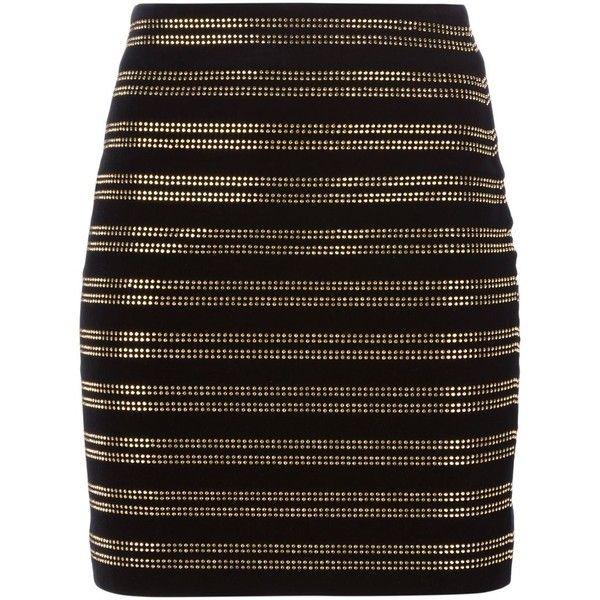 BALMAIN Studded Skirt ($1,022) ❤ liked on Polyvore featuring skirts, mini skirts, studded skirt, short black skirt, balmain, short mini skirts and high rise skirts
