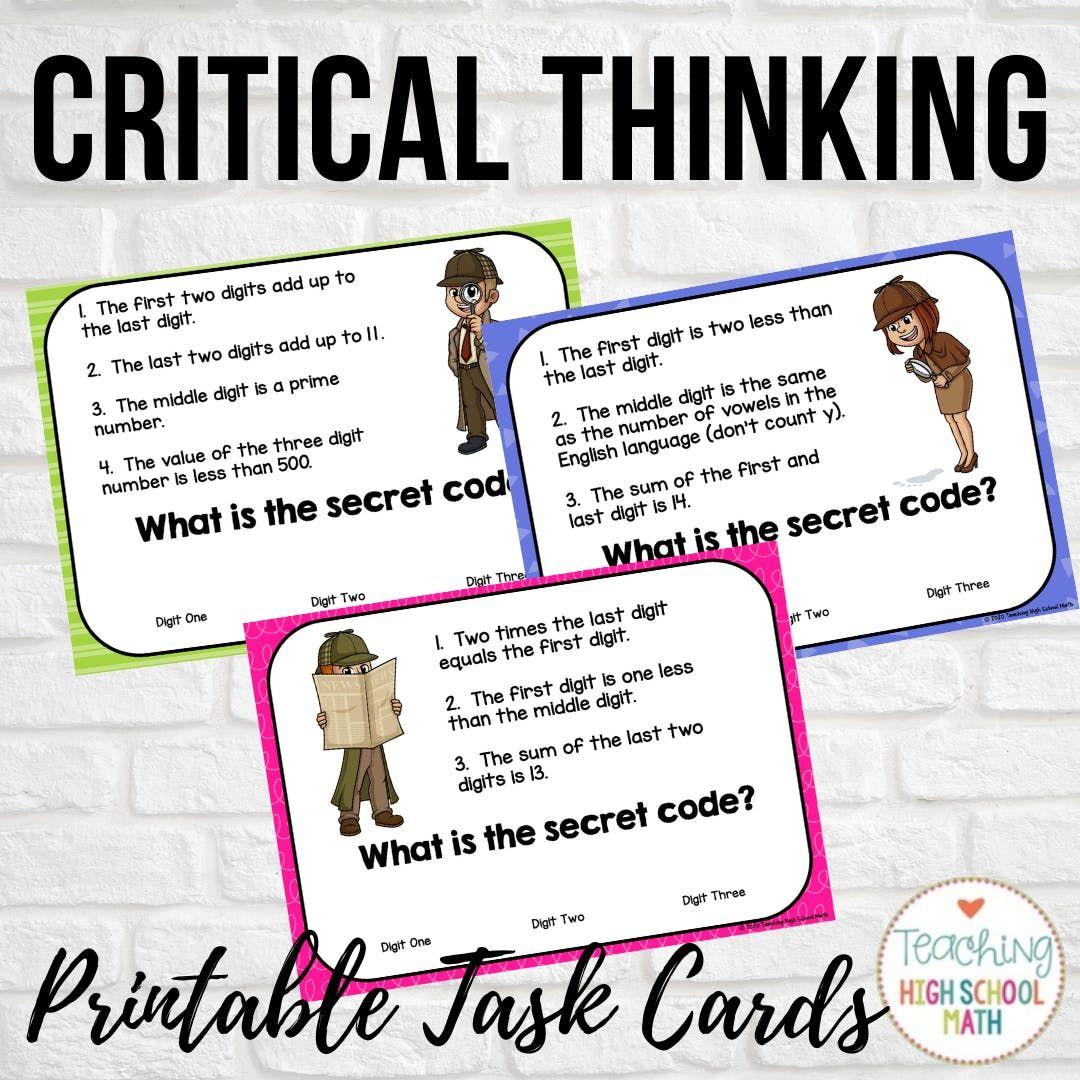 Improve Critical Thinking Use Secret Code Puzzles Critical Thinking High School Math Teaching High School [ 1080 x 1080 Pixel ]