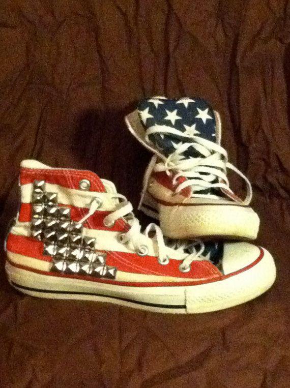 American Flag Hi Top Converse w/studs. $60.00, via Etsy.