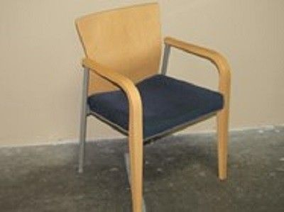 Steelcase Wood Frame Guest Chair In Maple Finish With Blue