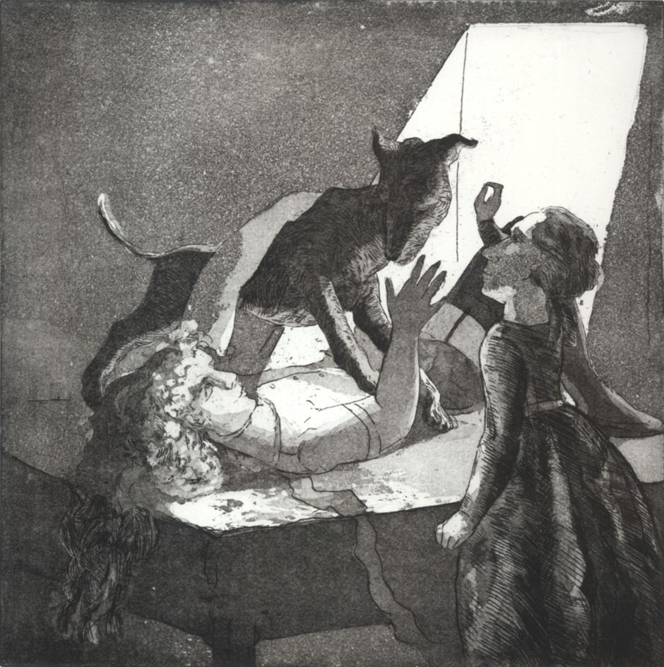 paula rego girl with her mother and a dog 1987 etching and