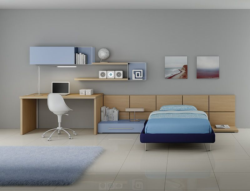 Cameretta Bianca E Blu : Arredamento #cameretta #letto sommier medium una piazza e 1 2 in