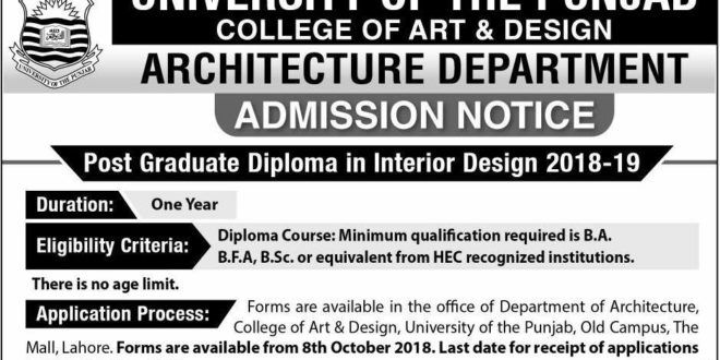 University College Of Art And Design Lahore Admissions 2018
