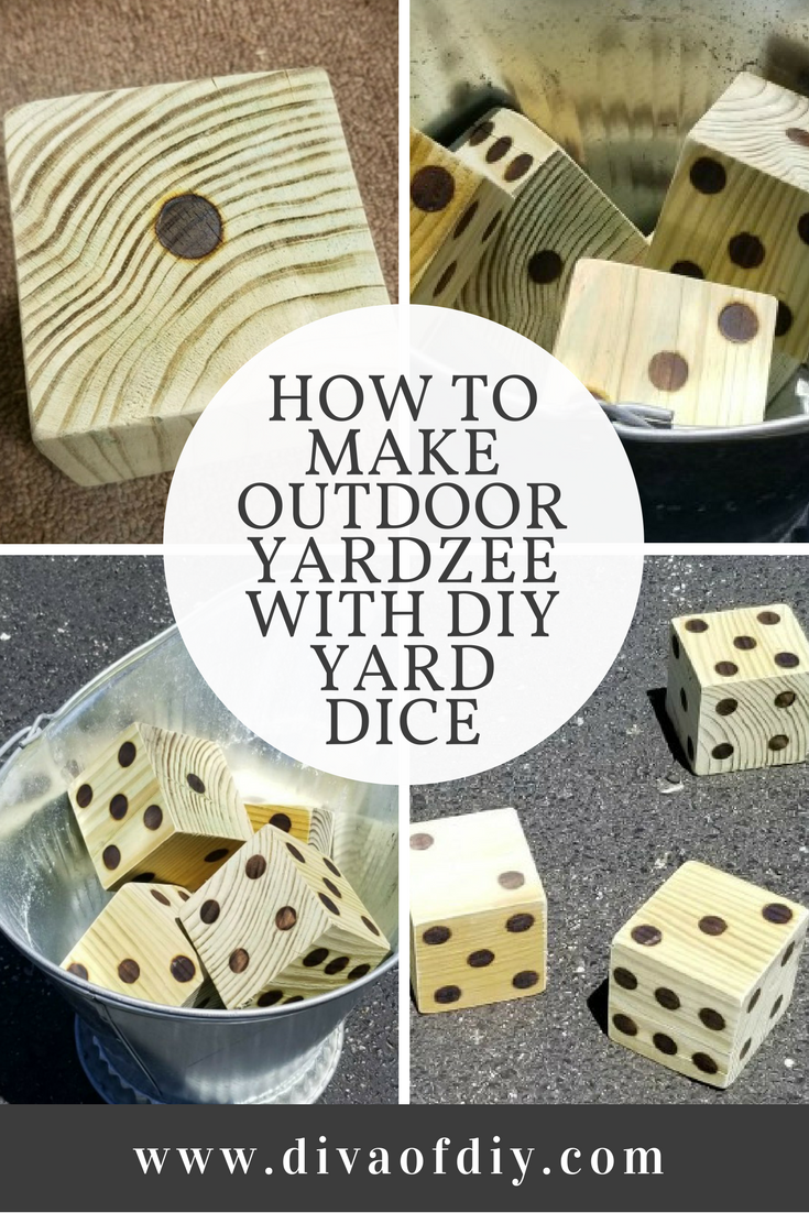 Spend hours outside this summer playing Outdoor Yardzee. Follow this step by step tutorial to make DIY Yard Dice and download the printable scorecards so you have everything you need for this fun outdoor game. We have all of the tips and tricks to ensure your DIY is a success. via @divaofdiy