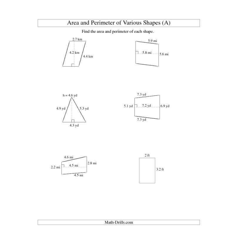 Free Worksheets free worksheets on area and perimeter : Measurement Worksheet -- Area and Perimeter of Various Shapes (up ...